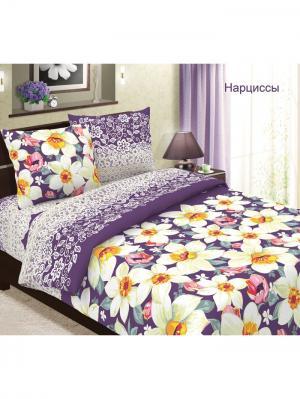 Комплект постельного белья Традиция 1,5 спальный. Цвет: темно-фиолетовый, белый, желтый