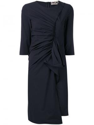 Платье с присборенной отделкой Hache. Цвет: синий