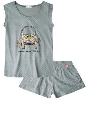 Пижама Oodji. Цвет: серо-зеленый
