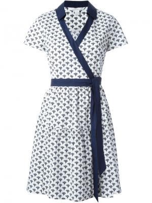Платье с запахом и принтом Peace Palm Diane Von Furstenberg. Цвет: белый