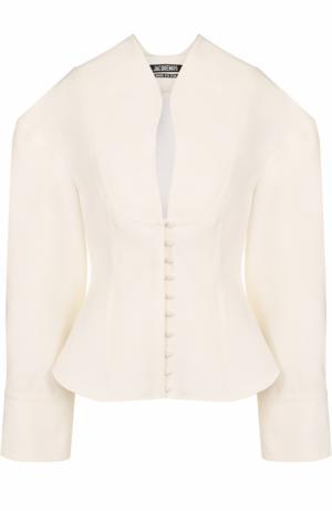 Приталенная блуза с объемными рукавами Jacquemus. Цвет: кремовый