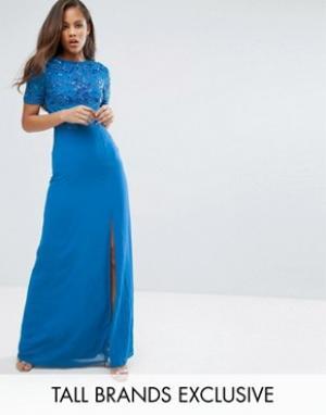Maya Tall Платье макси с разрезом до бедра и пайетками на топе. Цвет: синий