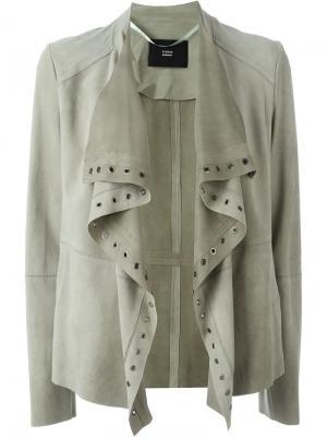 Кожаный пиджак Steffen Schraut. Цвет: зелёный