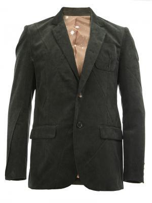 Пиджак в рубчик с прямоугольными лацканами Undercover. Цвет: зелёный