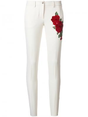 Брюки-скинни с вышитыми розами Philipp Plein. Цвет: телесный