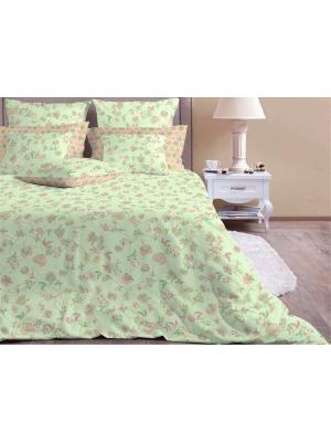 Семейное постельное белье. Бязь люкс. Хлопковый Край. Цвет: серо-зеленый, темно-бежевый