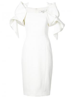 Geometric sleeve fitted dress Badgley Mischka. Цвет: белый