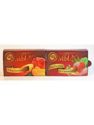 Набор натуральное мыло персик+клубника со сливками Крымская Натуральная Коллекция. Цвет: белый