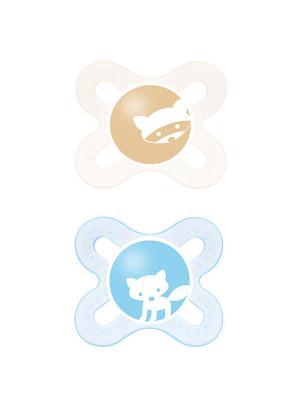 Пустышка силиконовая Mam Start 2 шт. 0-2 месяцев. Цвет: голубой, бежевый