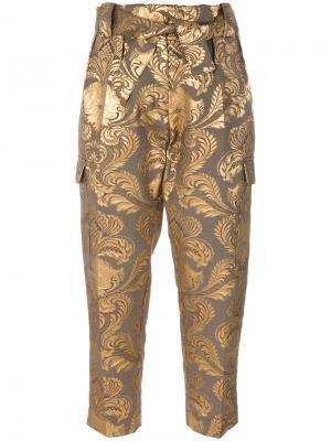 Жаккардовые брюки металлик Christian Pellizzari. Цвет: коричневый