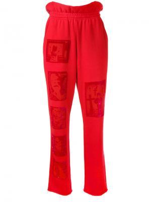 Devoré patch trousers Mikio Sakabe. Цвет: красный