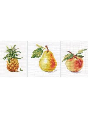 Наборы для вышивания Фрукты (комплект из трех наборов) Алиса. Цвет: зеленый, коричневый, оранжевый