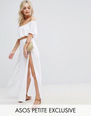 ASOS Petite Пляжная юбка макси с разрезами по бокам. Цвет: белый