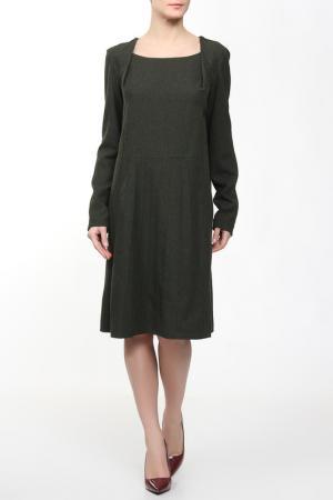 Шерстяное платье с длинным рукавом ANNA SINITSYNA. Цвет: зеленый