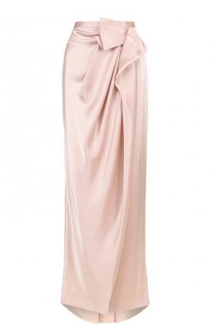 Юбка-макси с подолом и драпировкой St. John. Цвет: розовый