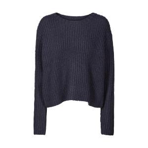 Пуловер из плотного трикотажа с круглым вырезом AND LESS. Цвет: синий морской