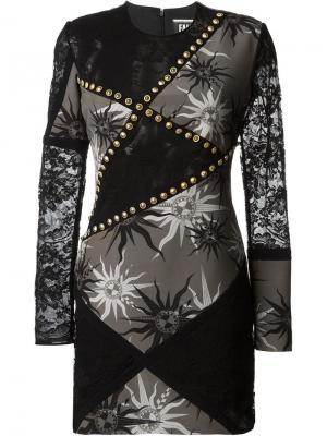 Платье с принтом символов солнца Fausto Puglisi. Цвет: чёрный