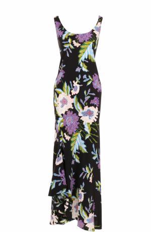Шелковое платье асимметричного кроя с цветочным принтом Diane Von Furstenberg. Цвет: разноцветный