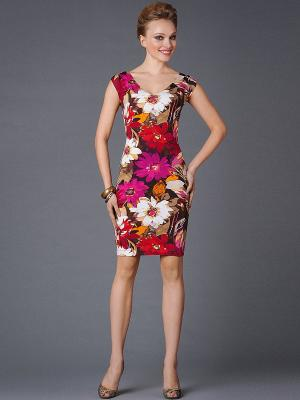 Платье Арт-Деко. Цвет: красный, коричневый, малиновый