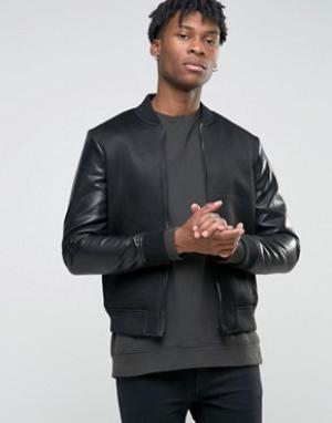 BL7CK Сетчатая куртка‑пилот с рукавами из искусственной кожи. Цвет: черный