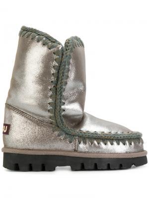 Зимние ботинки с эффектом металлик Mou. Цвет: серый
