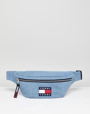 Tommy Jeans Джинсовая сумка-кошелек на пояс в стиле 90-х 5.0. Цвет: синий