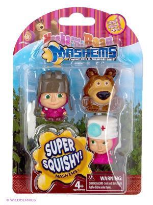 Детская игрушка Маша и Медведь, игрушки-мялки, 3 шт. в наборе, ассортименте медведь. Цвет: розовый