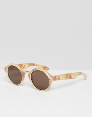 Mr Boho Круглые солнцезащитные очки в мраморной оправе с классическими стеклам. Цвет: коричневый