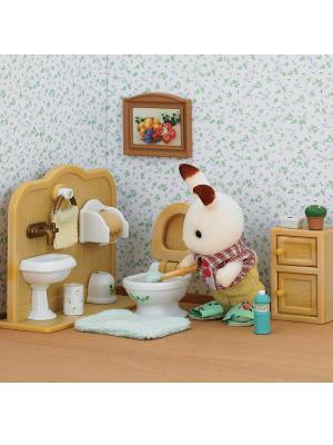 Набор Братик и туалетная комната Sylvanian Families. Цвет: бежевый, коричневый