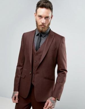 ASOS Пиджак скинни из ткани с добавлением шерсти. Цвет: рыжий