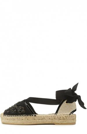 Атласные эспадрильи Adriana с вышивкой Oscar de la Renta. Цвет: черный