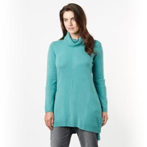 Пуловер с объемным воротником TAILLISSIME. Цвет: розовая пудра,серый меланж