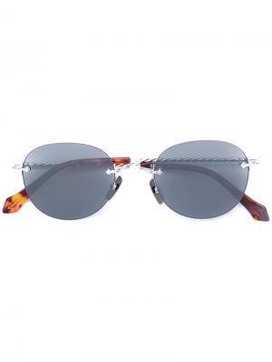 Солнцезащитные очки с овальной оправой Brioni. Цвет: металлический