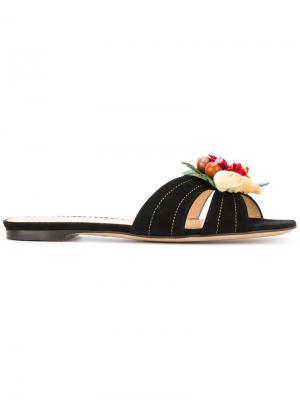 Шлепанцы с отделкой в форме цветка Charlotte Olympia. Цвет: чёрный