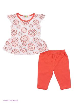 Комплект Kidly. Цвет: коралловый, белый
