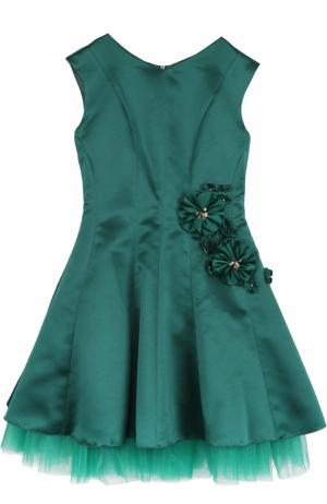 Приталенное платье-миди с цветочным декором David Charles. Цвет: зеленый