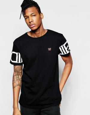 D.I.E Черная футболка с принтом логотипа на рукавах .. Цвет: черный
