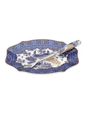 Тарелочка под лимон Павлин синий с вилкой Elan Gallery. Цвет: белый, синий