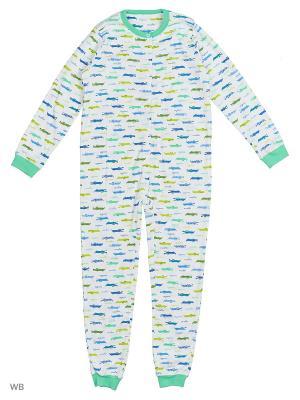 Пижама-комбинезон LISA CROWN. Цвет: синий, зеленый, белый