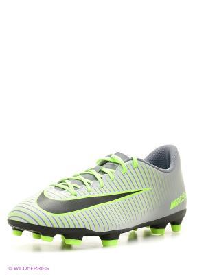 Бутсы MERCURIAL VORTEX III FG Nike. Цвет: салатовый, серый, черный