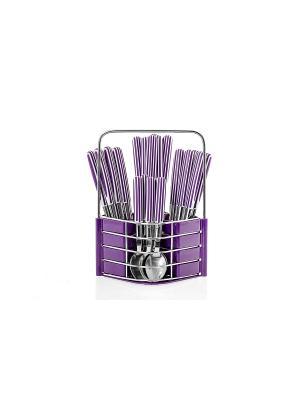 Набор столовых приборов на подставке Flore Plus,24 предмета фиолетовый Elff Ceramics. Цвет: фиолетовый