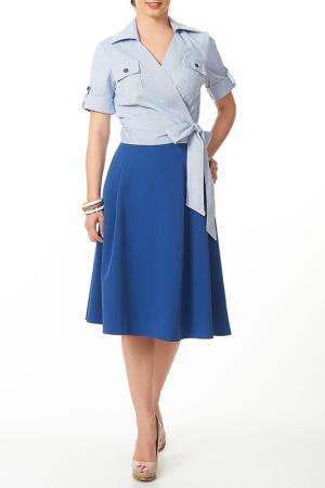 Комплект: юбка, блузка Argent. Цвет: белый, синий
