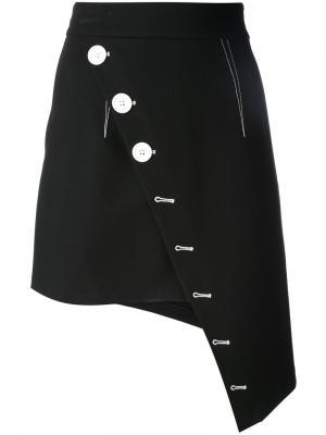 Асимметричная юбка на пуговицах Ssheena. Цвет: чёрный