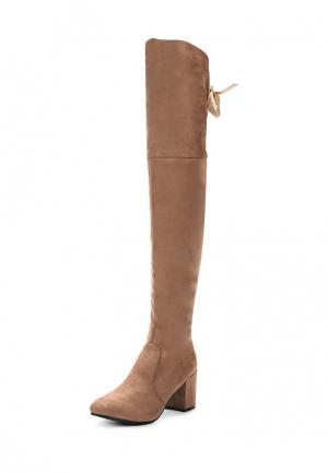 Ботфорты Style Shoes. Цвет: бежевый