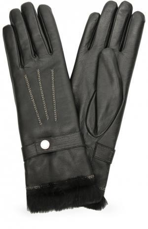 Кожаные перчатки с отделкой из меха кролика Agnelle. Цвет: черный