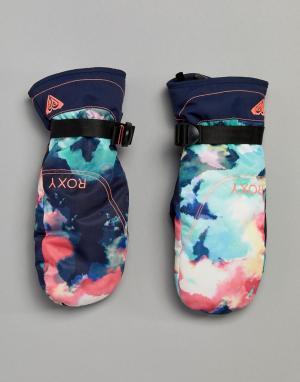 Roxy Горнолыжные варежки с принтом. Цвет: мульти