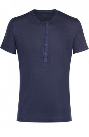 Льняная футболка хенли 120% Lino. Цвет: темно-синий