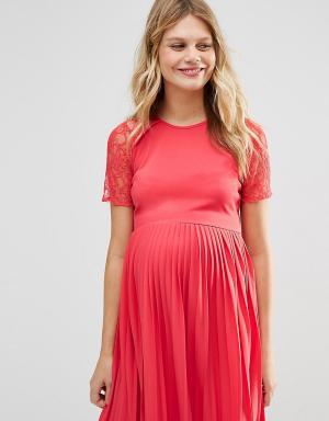 ASOS Maternity Фактурное платье мини для беременных с плиссировкой. Цвет: оранжевый