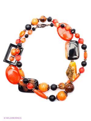 Колье Роман с камнем. Цвет: оранжевый, черный