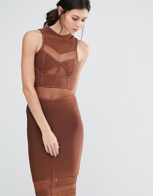 True Decadence Tall Бандажное платье миди. Цвет: коричневый